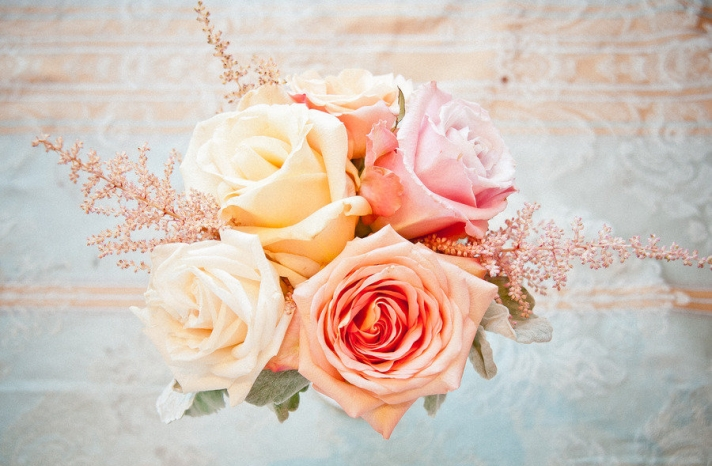 Pastel rose wedding centerpiece