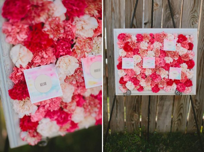 carnations escort card diy display from the brides cafe