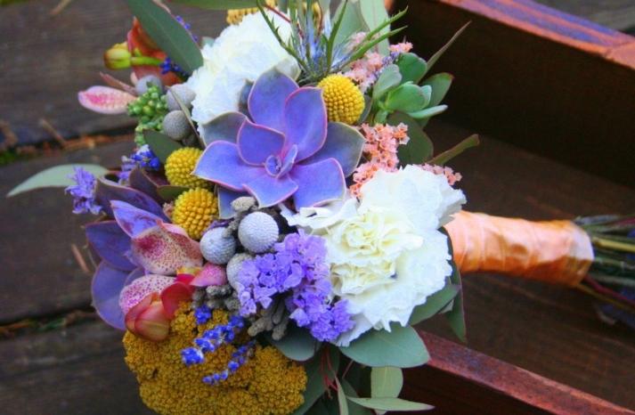 Purple succulent wedding bouquet