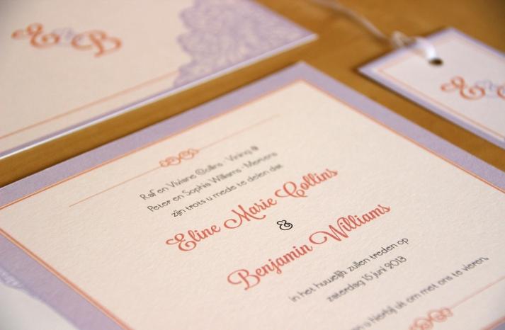 Lavender orange ivory square wedding invitation