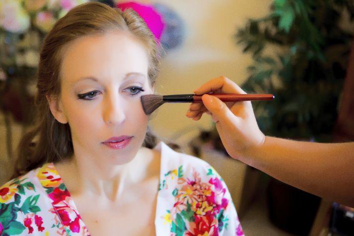 Florida bride gets ready wearing bright floral kimono