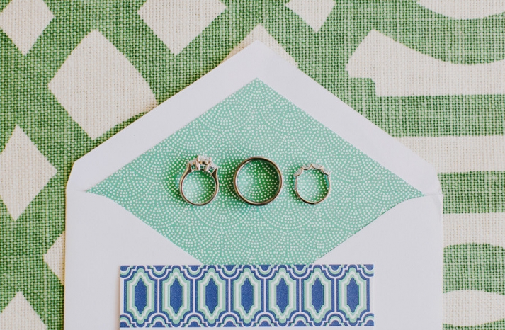 wedding rings photographed on stationery