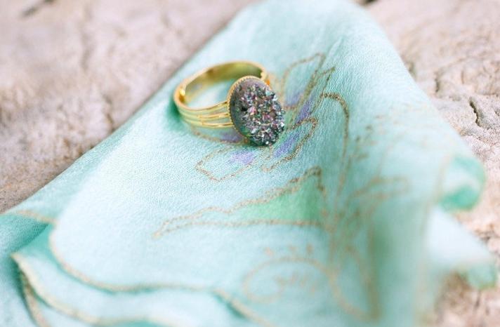 Unique vintage engagement ring aqua hankie