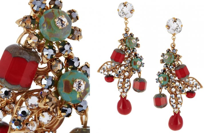 Statement wedding earrings red turquiose gold