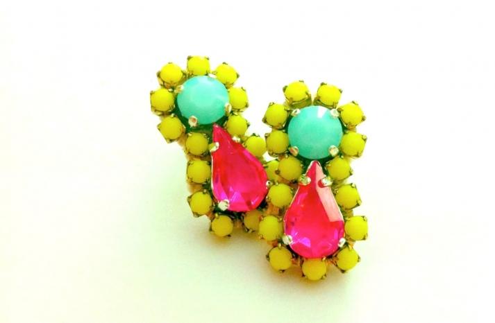 Neon bridal earrings yellow green pink