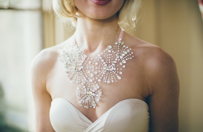 Crystal starburst wedding necklace