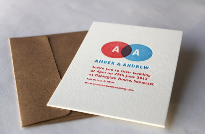 Letterpress vendiagram wedding invites
