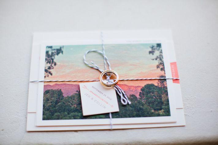Romantic sunset wedding invitations