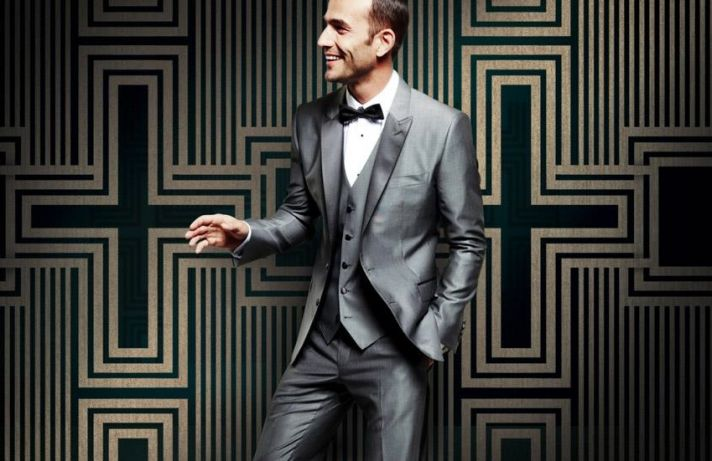 Dapper Grooms Attire D and G silver gray suit