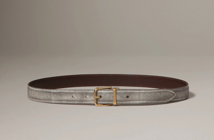 gray dolce gabbana belt with gold buckle