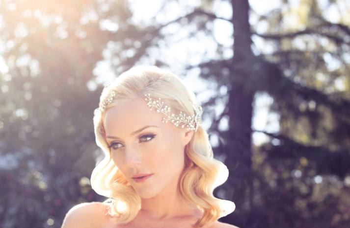 romantic wedding headpiece pearl wrap around crown
