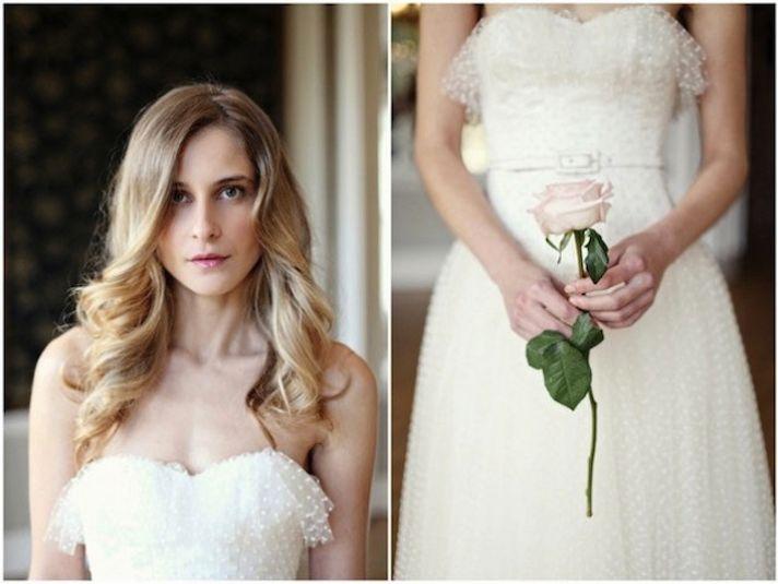 polka dot sweetheart wedding dress