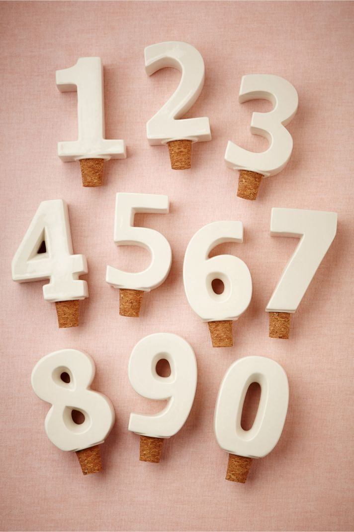 Beach wedding table numbers white and cork by BHLDN
