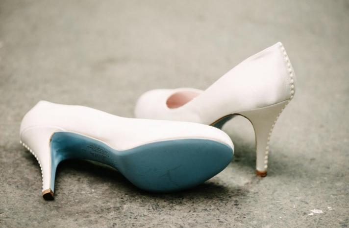 Wedding shoes by Harriet Wilde bridal heels blue soles