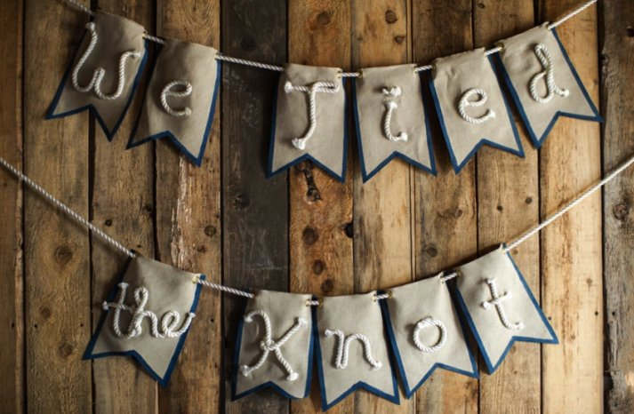 We Tied the Knot flag wedding banner