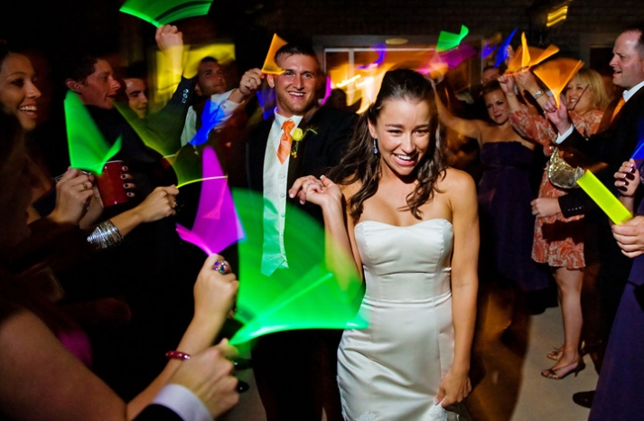 Wedding reception glow stick run
