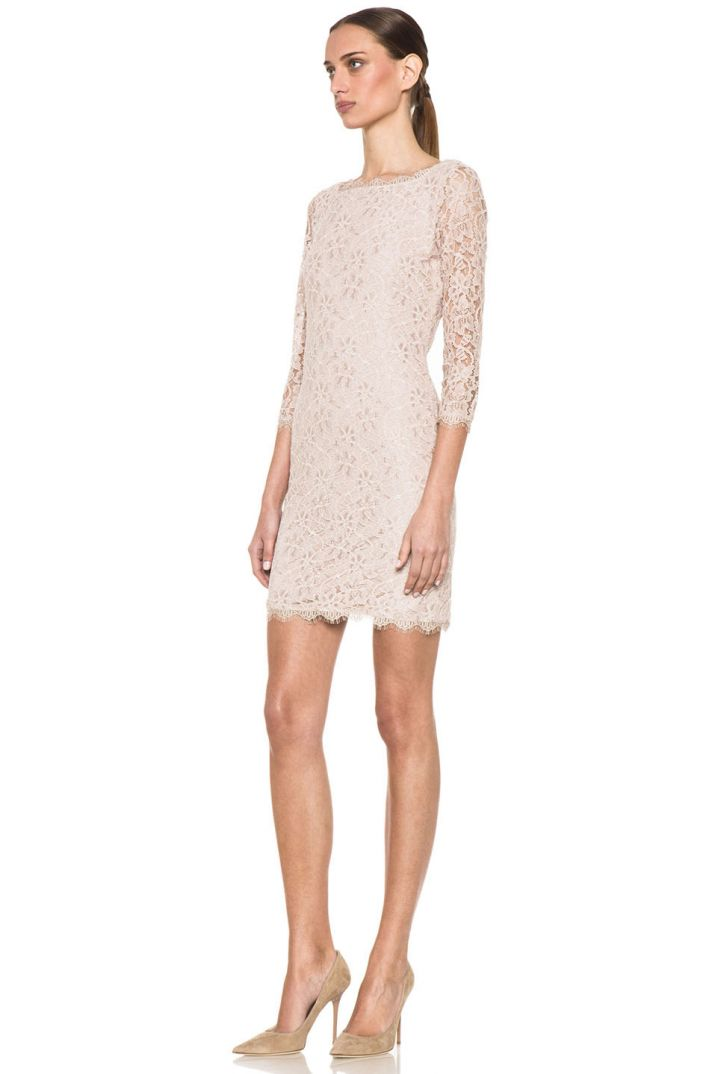 DVF nude lace bridesmaid dress