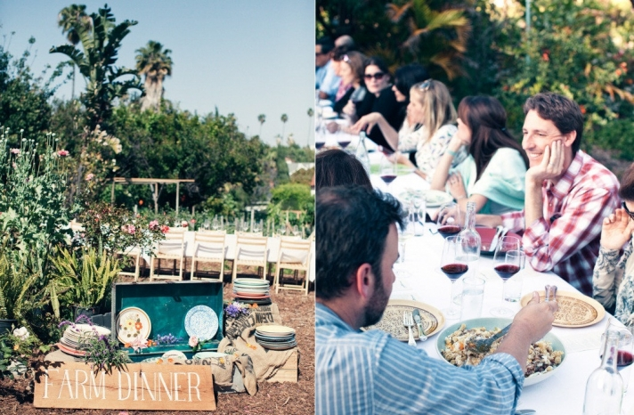 Family style wedding reception dining rustic outdoor