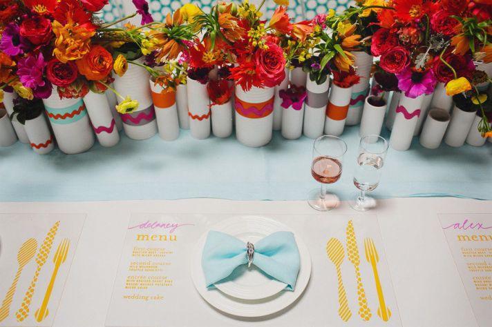 modern wedding tablescape with unique diy centerpieces
