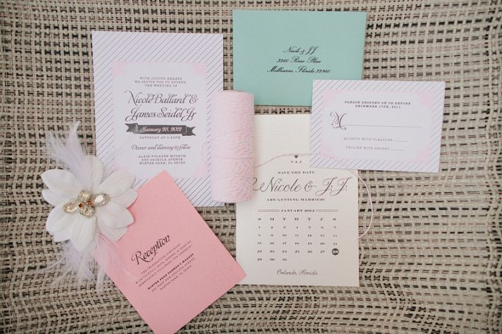 aqua and blush pastel romantic wedding invitations