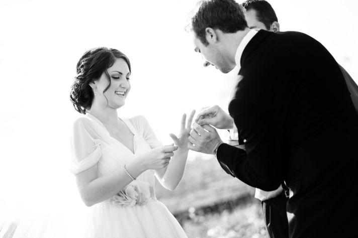 rustic barn wedding IL photographers ceremony ring exchange
