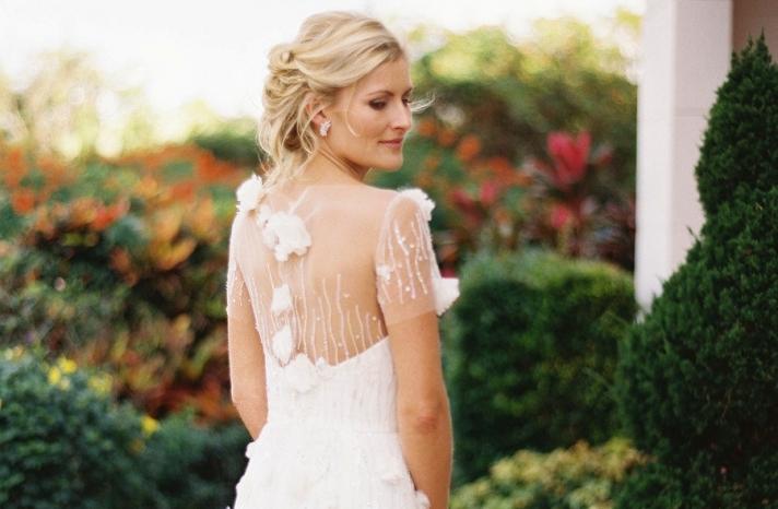 Reem Acra sheer back wedding dress