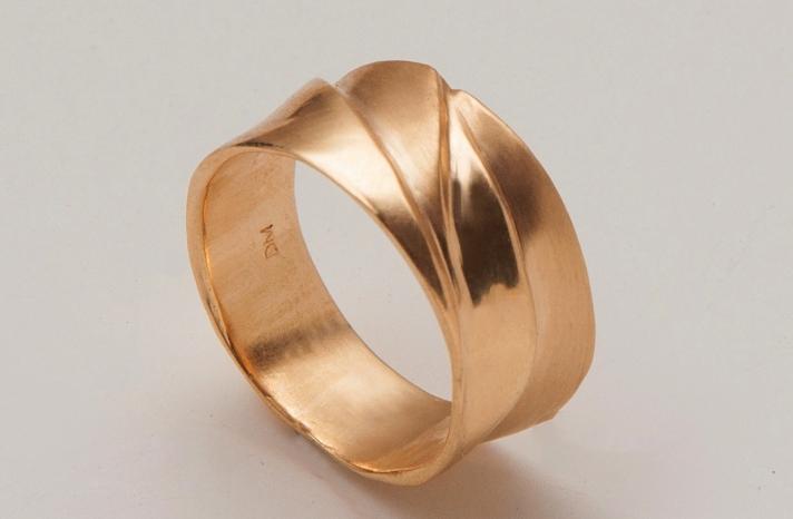 Gold waves wedding band handmade