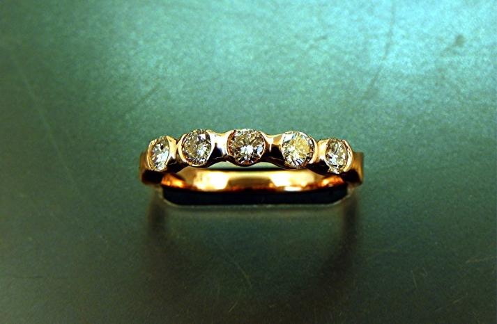 gold five stone diamond wedding band modern design