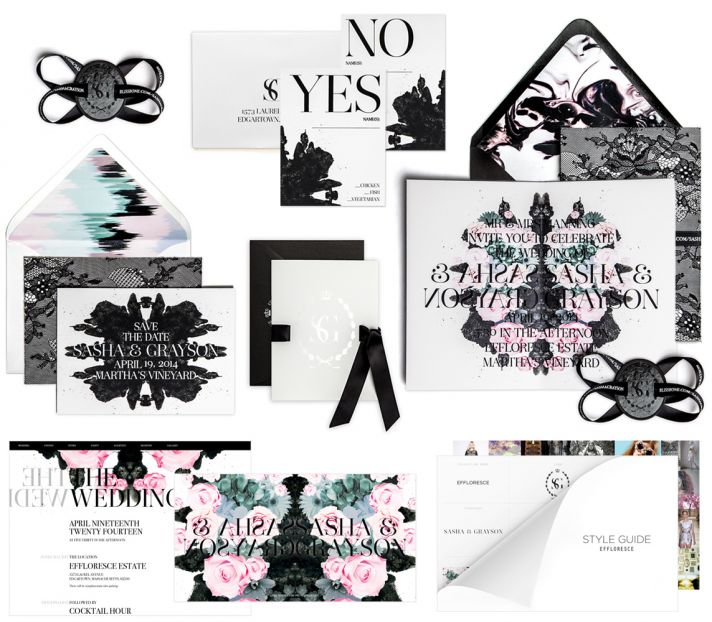 Bliss and Bone Wedding Collection customized invitations Effloresce