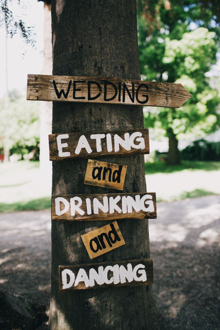 Rustic wood wedding signs directions for guests