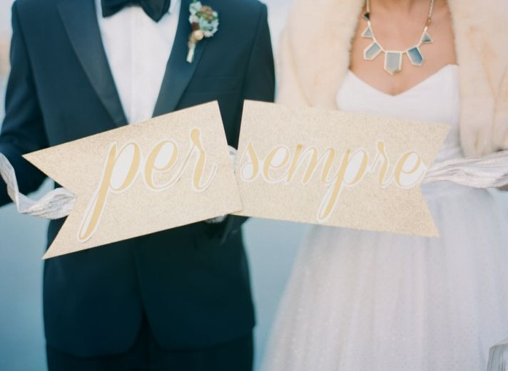 Per Sempre forever wedding signs