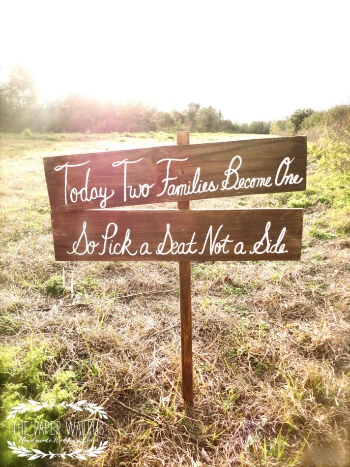 Pick a seat rustic romance wedding sign