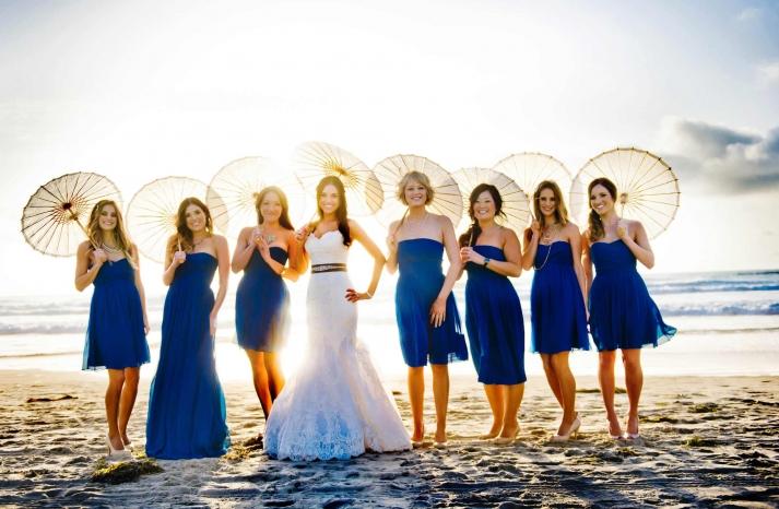 Deep blue mix and match bridesmaid dresses beach weddings