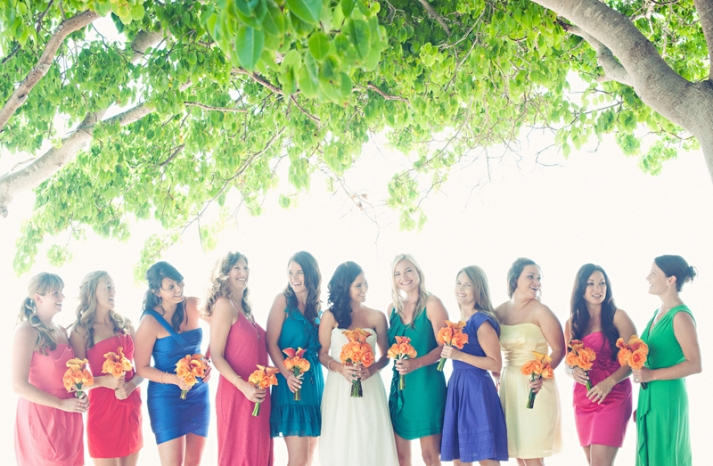 bright colored mix and match bridesmaid summer weddings