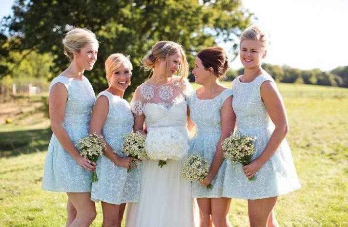 sky blue short bridesmaid frocks for summer I Dos
