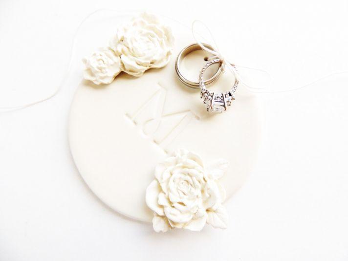 Monogrammed ceramic wedding ring bearer dish
