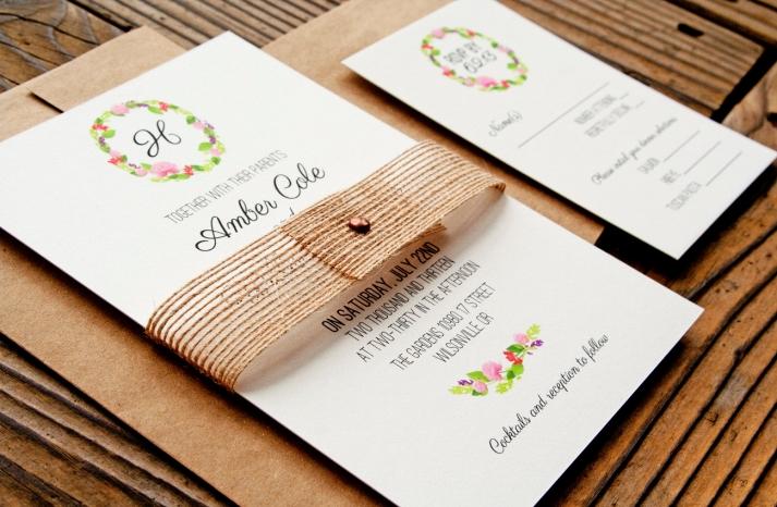 floral wreath elegant wedding invitations