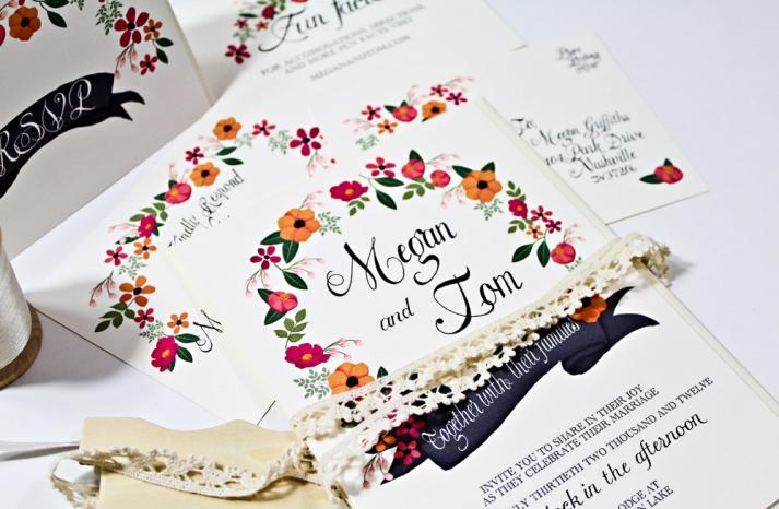 handpainted floral wedding invitation suite