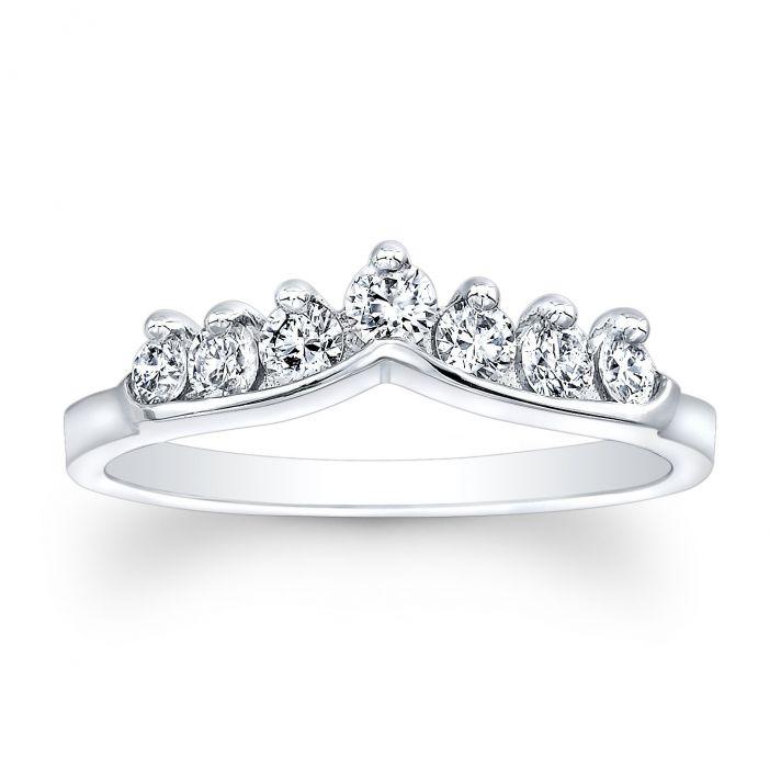 Platinum and diamond shadow band wedding ring