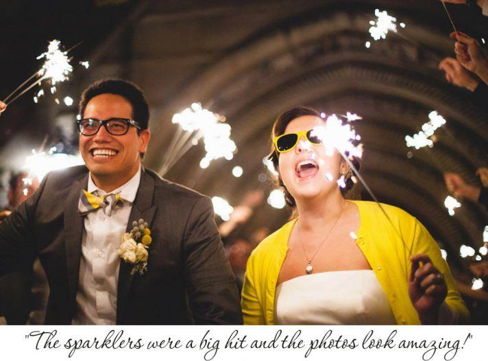 Sparkler wedding sendoff funky bride and groom
