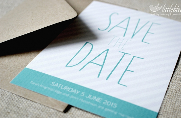 Modern stripes wedding save the date aqua gray