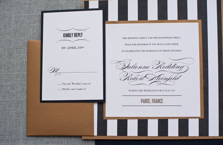 Roaring 20s black gold and white wedding invitations