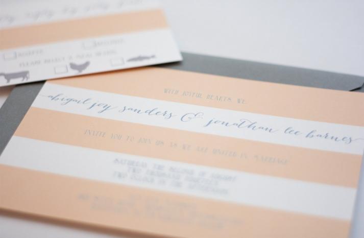 Peach white gray modern striped wedding invitations