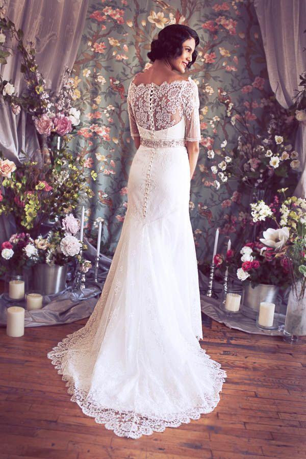 Stunning 3 quarter sleeve lace wedding dress