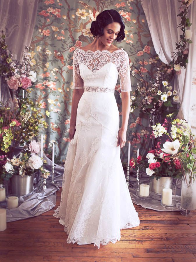 Traditional with a twist onewed for Wedding dresses with three quarter length sleeves