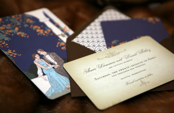 Art Deco inspired Seattle wedding invitations