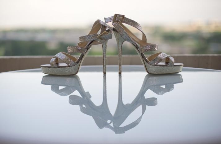 Silver Jimmy Choo strappy wedding shoes