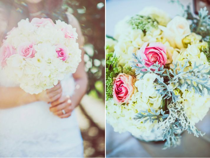 Dreamy wedding bouquet and centerpiece in pastel yellow and pink