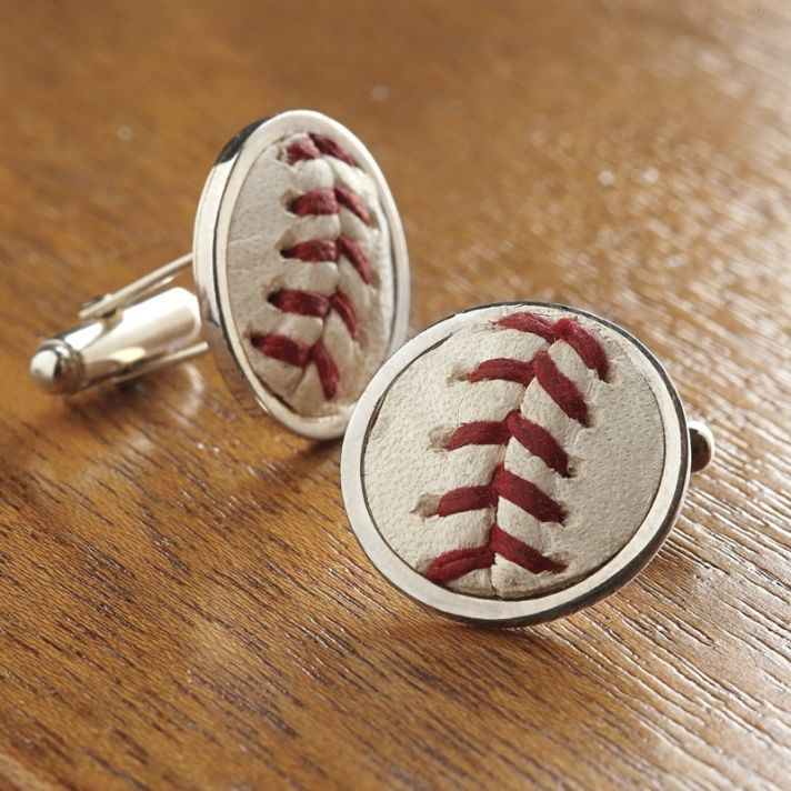 Baseball stitches cuff links for the father of the bride