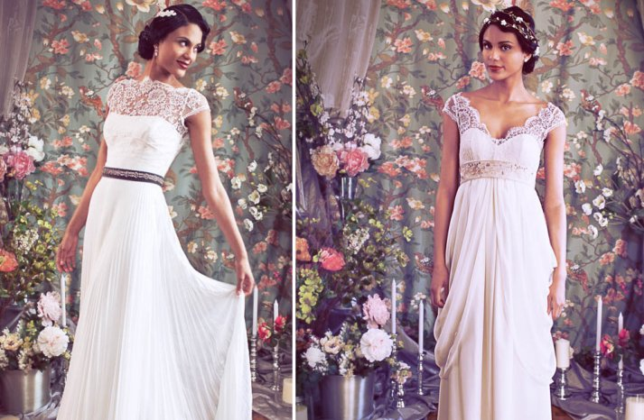 Illusion lace sleeved wedding gowns